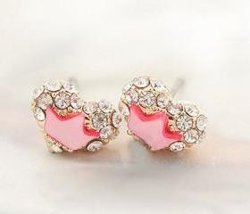 Pink Rhinestone Heart Crown Stud Earrings