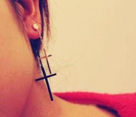 Fashion Two-color Cross Long Dangle Earrings