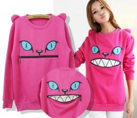 O-Neck Big Mouth Devil Zipper Sweater