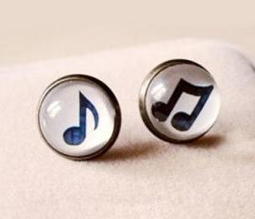 Vintage Handmade Musical Note Gem Stud Earrings