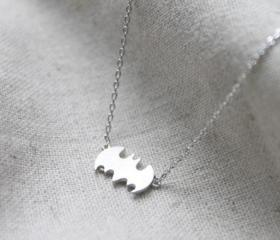 Extra Silver Bat Clavicle Chain Batman Necklace